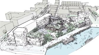 Varvsstaden, visionsbild över planområdet. Illustration: NORD arkitekter