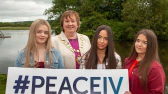 Eva McSorley, Molly Magill and Abbi Gay pictured alongside Mayor Cllr Maureen Morrow
