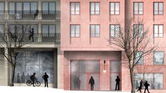 Husen i kvarteret Lysosomen som SKB bygger i Hagastaden planeras vara färdiga för inflyttning 2023. Illustration: Arkitema Architects