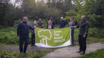 Mayor Peter Johnston and Councillor Marc Collins pictured with the MEABC Parks Team & Volunteers - Paul Mawhinney, Jackie Waide, Paul Crozier, parks volunteers Phil Allen, Irene Hunter and Joan Thompson