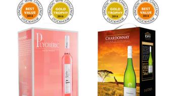 Två av Sveriges mest prisvärda boxar - Puychéric Syrah Rosé och KWV Chardonnay