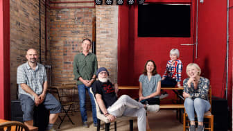 From left to right, actor Chris Connell, Associate Professor Steve Gilroy, actor Dave Johns, Dr Heike Pichler, actor Sharon Percy and actor Jackie Lye.