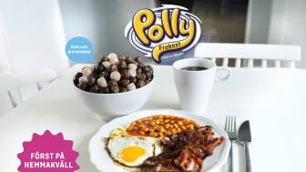 Polly Frukost med smak av bacon, ägg och vita bönor.
