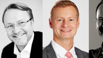Tobias Dysenius, försäljningschef Riksbyggen Bostad, Marcus Svanberg, vd Länsförsäkringar Fastighetsförmedling och Joakim Båge, ekonomijournalist.