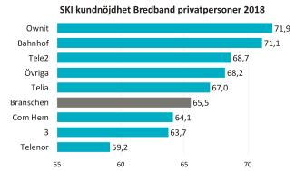 Som bredbandslevarantör får Ownit bäst betyg av privatkunderna, följd av Bahnhof. Flera andra leverantörer har gjort stora förbättringar jämfört med tidigare år, exempelvis Tele2.