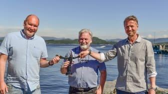 Fra venstre: Tor Kristian Gyland (Green Mountain), Alf Reime and Asbjørn Drengstig (Norwegian Lobster Farm)