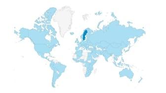 Kartbild över var besökare till www.utrikesgruppen.se befinner sig