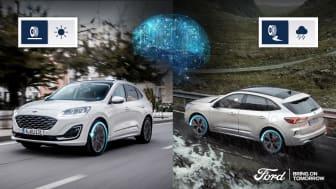 Az AWD-szétkapcsolással felszerelt Kuga Hybridben mesterséges intelligencia javítja a kerekek tapadását és az autó üzemanyag-fogyasztását