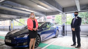 Mims Davies MP joins Chris Fowler, Customer Services Director for Southern, to open the new EV charging hub at Haywards Heath station. More photos available to download below.