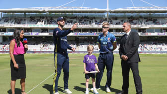 Captains James Vince and Sam Billings at the toss before the 2018 Royal London One-Day Cup final at Lord's this morning