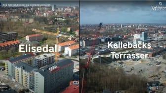 På var sin sida om Kungsbackaleden i Göteborg pågår två av Wallenstams nyproduktioner. Projektledarna för de båda nyproduktionerna kan med lite god vilja se och vinka till varandra på dagarna.