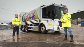 Carl Nieland, waste operations manager, and Councillor Alan Quinn with one of the new Rotopress vehicles.