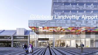 Kommande hotell på Göteborg Landvetter Airport som färdigställs vid årsskiftet 2020/2021. Foto: Wingårdhs Arkitekter.