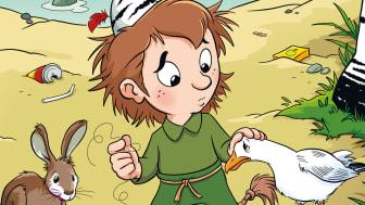 Illustration av Lars Bällsten, från omslaget till Skogsmulle och den ledsna fågeln.