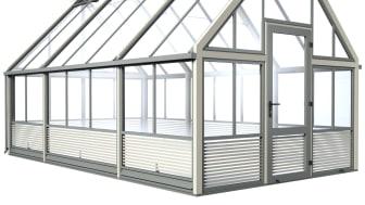 Växthuset CULT finns i tre fasta bredder och valfri längd.