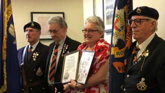 The Royal Sussex Regiment presented Laura Lee with certificates in recognition of her research project