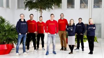 Matsmart - Motatos globala ledningsgrupp. Från vänster: Ulf Skagerström grundare, Johannes Kayser COO, Johan Svensson CSO, Karl Andersson CEO och grundare, Andreas Kardell CTO, Frida Grenås CFO, Conrad Edgren CLO och Sofia Syrén CMO