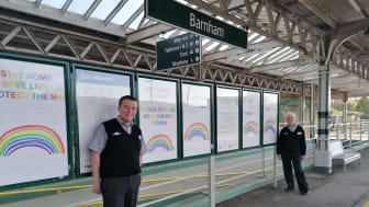 Rainbow posters have been displayed all over Barnham station - MORE IMAGES AVAILABLE TO DOWNLOAD BELOW