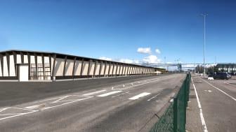 Fabriken i Värö kommer att bli en av Nordens största fabriker som tillverkar korslimmat trä. Illustration: Arkitektbolaget