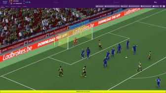 Tijdens de wedstrijd in Football Manager krijgen de gamers reclame voor Ladbrokes.be te zien