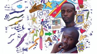 """Fred Bauma och Yves Makwambala portätterade i Amnestys kampanj """"Skriv för frihet"""" som över 170 000 personer deltog i."""