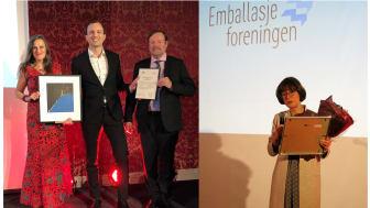 """Jaana Røine og Thomas Eie fra Emballasjeforeningen delte ut Optimeringsprisen til Brage Kjeldby i Orkla Foods Norge. Til høyre takker bærekraftsansvarlig i Orkla, Ellen Behrens, for den ferske """"Ellen-prisen"""". (Foto: Emballasjeforeningen)."""