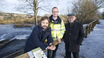 From l-r: Oliver Moss, Northumbria University; Jon Shelley, the Environment Agency; Professor Tom Mordue, Northumbria University