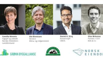 Tirsdag 13. august kl. 9 er blant andre klima- og miljøminister Ola Elvestuen med, når vi skal utforske hvordan vi kan skape bærekraftige boliger og områder som gir gode liv.  Illustrasjon: Norsk Eiendom