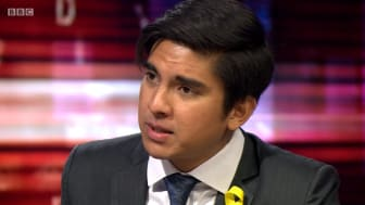 Screen shot of the Malaysian Minister for Youth and Sports Syed Saddiq on BBC HARDTalk