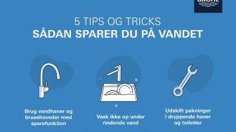 Fem tips og tricks - sådan sparer du på vandet