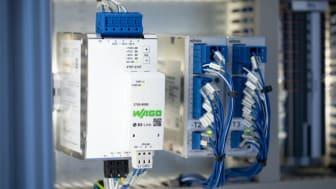WAGO Pro 2 nätaggregatet erbjuder med 24V/20A ett kommunikationsgränssnitt för övervakning och konfiguration. Källa: WAGO