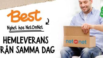 NetOnNet erbjuder i samarbete med Best Transport, klimatkompenserade hemleveranser från samma dag