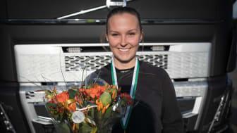 Felicia Bendroth som går sista året på inriktning transport på Malenagymnasiet i Sjöbo vann dagens kvaltävling. Foto: TYA