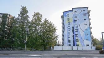 Gummy Guen abstrakti muraali on toinen Seinäjoen UPEA18-taidefestivaalin teoksista. Kuva: Timo Aalto.
