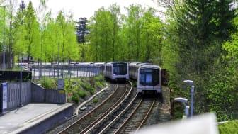 Følg godt med utover høsten. T-banen vil i perioder kjøre litt annerledes, eller være erstattet av buss på grunn av oppgraderinger og vedlikeholdsarbeid. Foto: Ruter As / Bonanza AS, Iver Gjendem