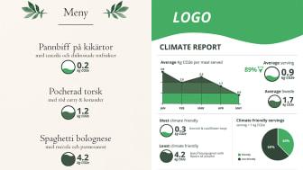 Exempel på hur en klimatmärkt meny och en klimatrapport ser ut.