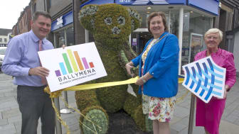 Pictured at the unveiling is Vice Chair of Ballymena BID, Andy Storey; Mayor of Mid and East Antrim, Councillor, Maureen Morrow and BID board member Alderman, Audrey Wales.