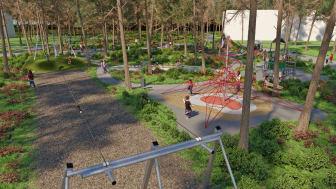 Skiss över hur lekplatsen kommer att se ut. Bild: Kompan