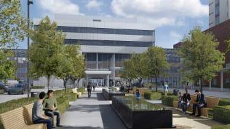 Nye Drammen sykehus er under bygging | Illustrasjon: LINK arkitektur/Bølgeblikk/Ratio