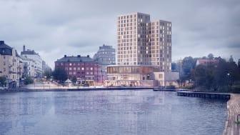 Clarion Hotel Södertälje öppnar hösten 2023. Bild av FOJAB  Arkitekter.