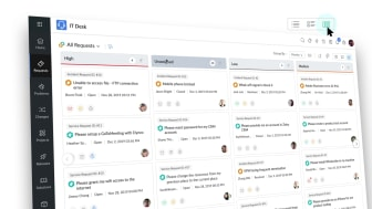 Nya Kanban-gränssnittet i ServiceDesk Plus Cloud är både användarvänligt och flexibelt.