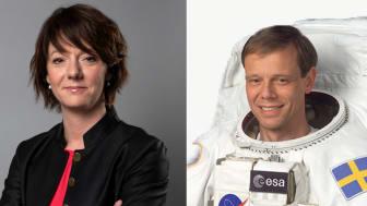 Två häftiga deltagare på Rymdforum är minister Matilda Ernkrans och astronauten Christer Fuglesang. (Foto Regeringskansliet samt fuglesang.eu)
