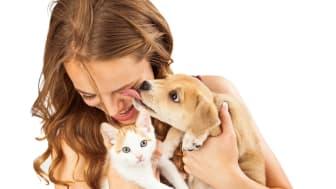 Frau mit Hund und Katze