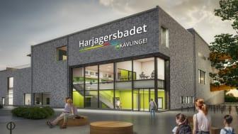 Visionsbild över entrén till Harjagersbadet - Kävlinge kommuns nya badhus. Bild: Norconsult AB
