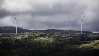 ALLE PÅ PLASS: I Roan vindpark er alle 71 vindturbiner installert. Nå venter tester og prøvedrift før den settes i kommersiell drift på tampen av året. (Foto: Ole Martin Wold/Fosen Vind)