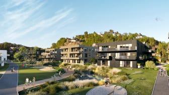 Illustrasjon av boligprosjektet i Bjørndalen i Kristiansand. Illustrasjon: DARK Arkitekter/ NOSLEEPTILLBROOKLYN