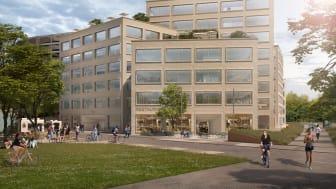 Kontorsfastigheten Grow i Solna strand är ett av de nybyggnationsprojekt som finansieras genom gröna obligationer. Illustration: Tham & Videgård/Carbonwhite