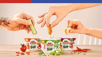 Die neuen Arla Buko Dips in drei Geschmacksrichtungen