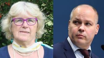 Karin Fridell Anter, föreningen Stöttepelaren, och Morgan Johansson, justitie- och migrationsminister (s)