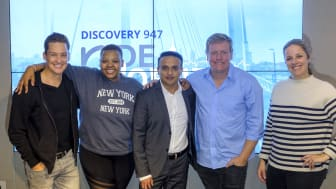 Discovery's Chief Marketing Officer Firoze Bhorat (centre), with the 947 Breakfast Club for the launch of the Discovery 947 Ride Joburg.